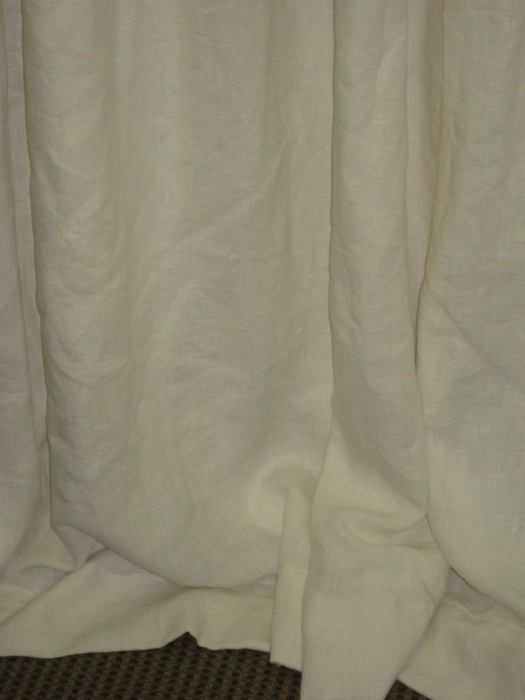 One Pair Linen Drapery Panels with Two Finger Casual Pleats-Lined Drapery-Linen Pleated Panels with Drapery Lining Finish-Two Curtain Panels