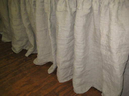 "Gathered Washed Linen Bed Skirt-Twin-Full-Queen-King----Side Drop Length up to 16""-Washed Linen Dust Ruffle"