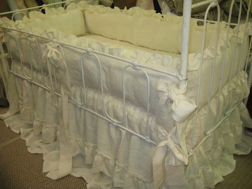 Cream Washed Linen Nursery-Layered Crib Skirts-Velvet Ribbon Trim