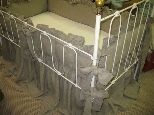 Natural Flax Washed Linen Crib Bedding-Medium Weight Washed Linen Ruffled Bumpers with Sash Ties-Storybook Crib Skirt