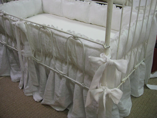 A Pair of Ruffled Crib Bedding Sets in Washed Bright White Linen-Crib Bedding for Twins-Crib Sheets-Crib Pillows-Custom Nursery Linens