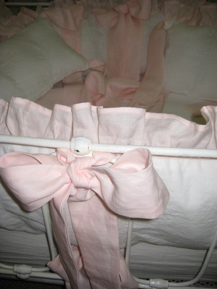 Ruffled Mini Crib Bumpers with Sash Ties-Zip Closures-Removable Mini Crib Bumper Pad Inserts