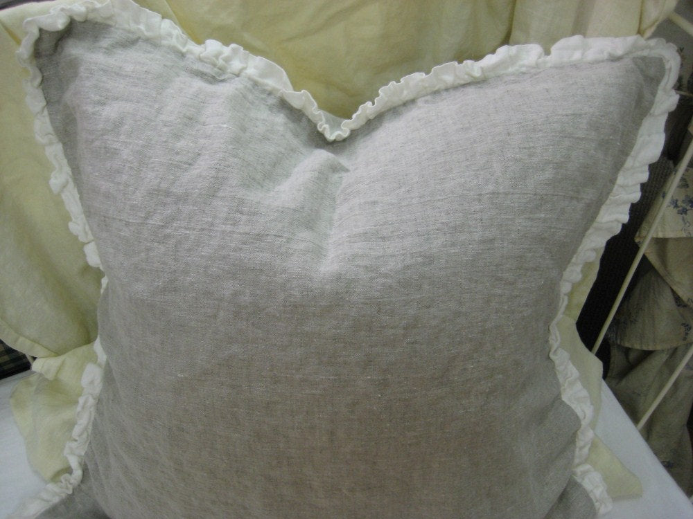 "Pair of 26"" Euro Shams in Washed Oatmeal Linen-1"" Vintage White Ruffled Detail"