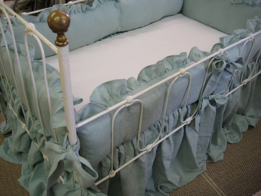 "Ruffled Washed Linen Crib Bedding in Patina -2"" Ruffled Crib Bumpers with Sash Style Ties-Extra Long Storybook Style Crib Skirt"
