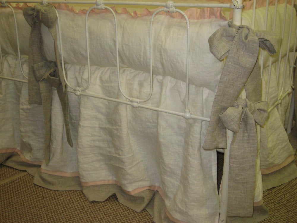 Washed Linen Nursery Bedding-Vintage White, Ballet, and Oatmeal-Ruffled Bumpers-Gathered Crib Skirt