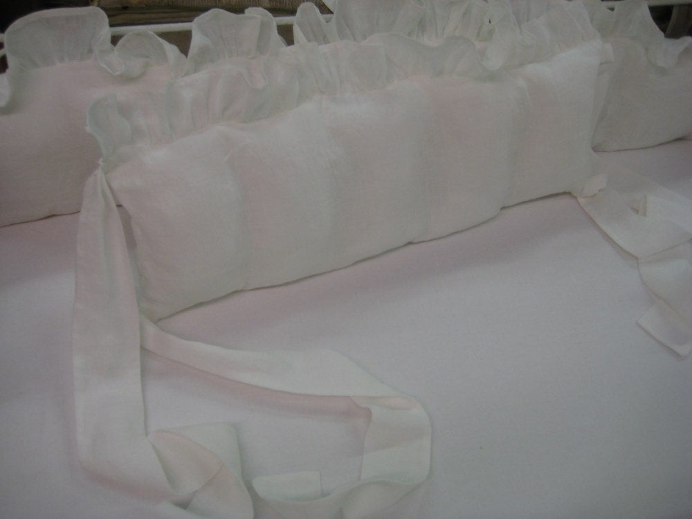 White Washed Linen Ruffled Crib Bumper Slipcovers with Removable Bumper Pad Inserts