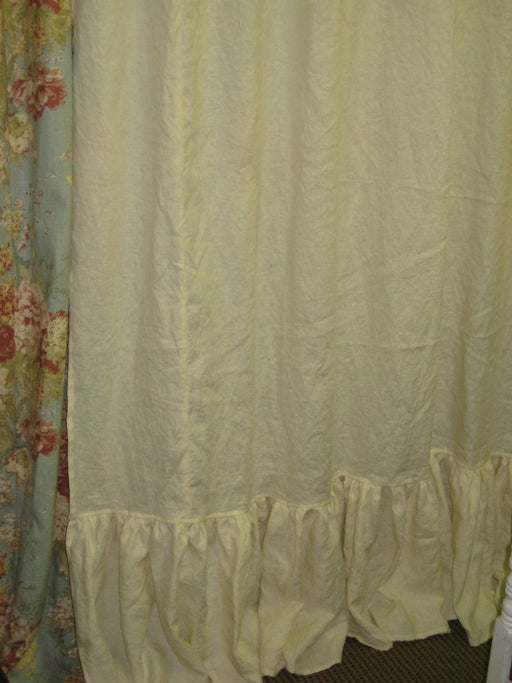 Standard Shower Curtain in Ivory Washed Linen-72 Inches Wide-85 Inches Long-Long Ruffled Relaxed Hem