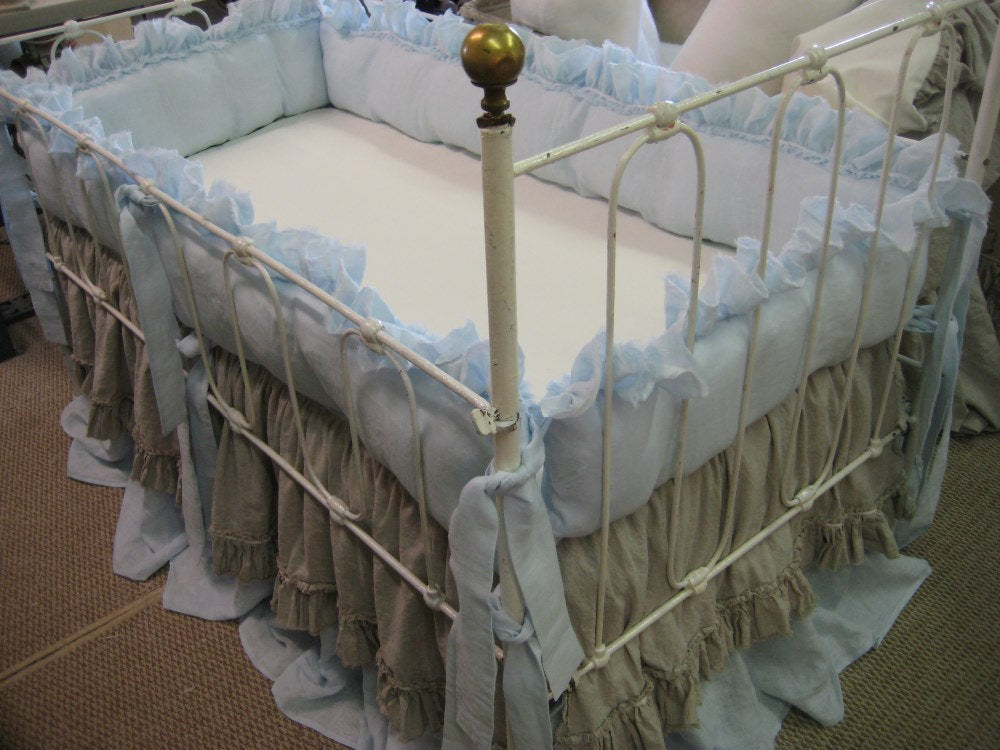 Washed Linen Crib Bedding-Bumpers and Layered Crib Skirts with Velvet Ribbon Trim and Torn Ruffle Detail