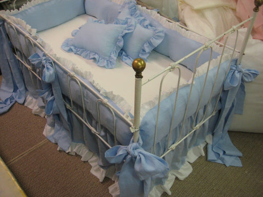 Ruffled Crib Bedding in Little Boy Blue and Bright White-Washed Linen Crib Bumpers and Skirt-Pair of Crib Pillows-Over Sized Crib Sashes