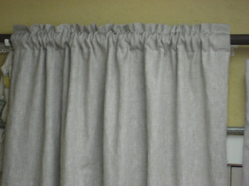 Rod Pocket Style Linen Drapery with Ruffled Header-One Pair-Lined Window Panels-Linen Curtains-White or Ivory Drapery Lining-Any Linen Color