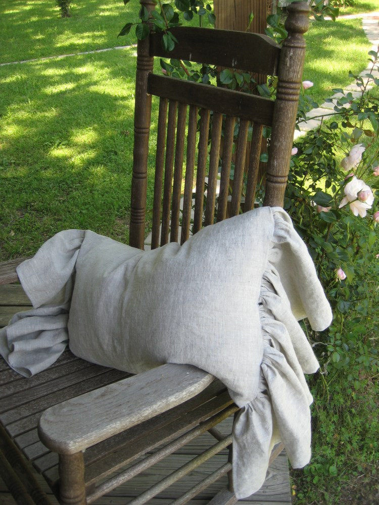 Side Ruffled 16x26 Washed Linen Pillow Sham- Zip Closure-Wedding Gift-Romantic Bedding