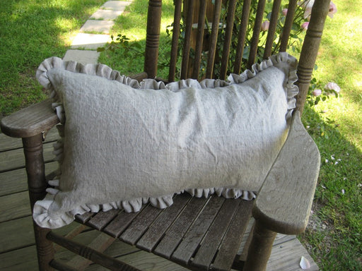 Petite Ruffled Pillow Sham-Decorative Washed Linen Pillow Sham