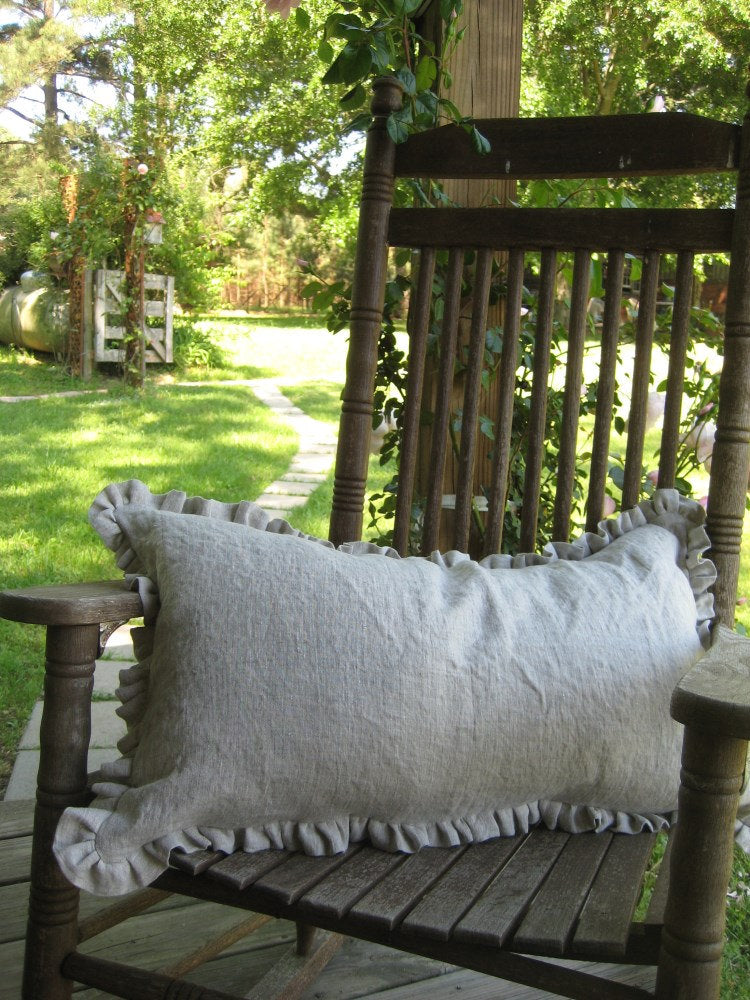 One Inch Ruffled 16x26 Washed Linen Pillow Sham- Zip Closure-Classic Bed Linens