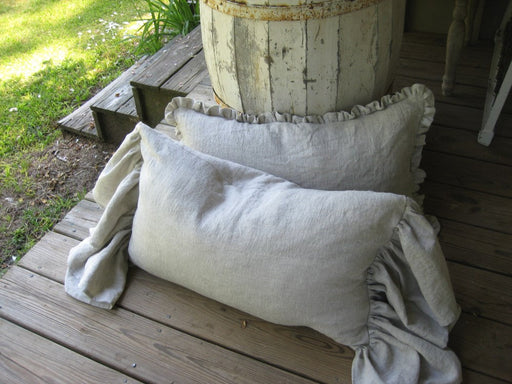 Pair of Ruffled Pillow Shams-Your Requested Color Choice and Size-Zip Closures-Made to Order-Classic Washed Linen Bedding-May Be Monogrammed