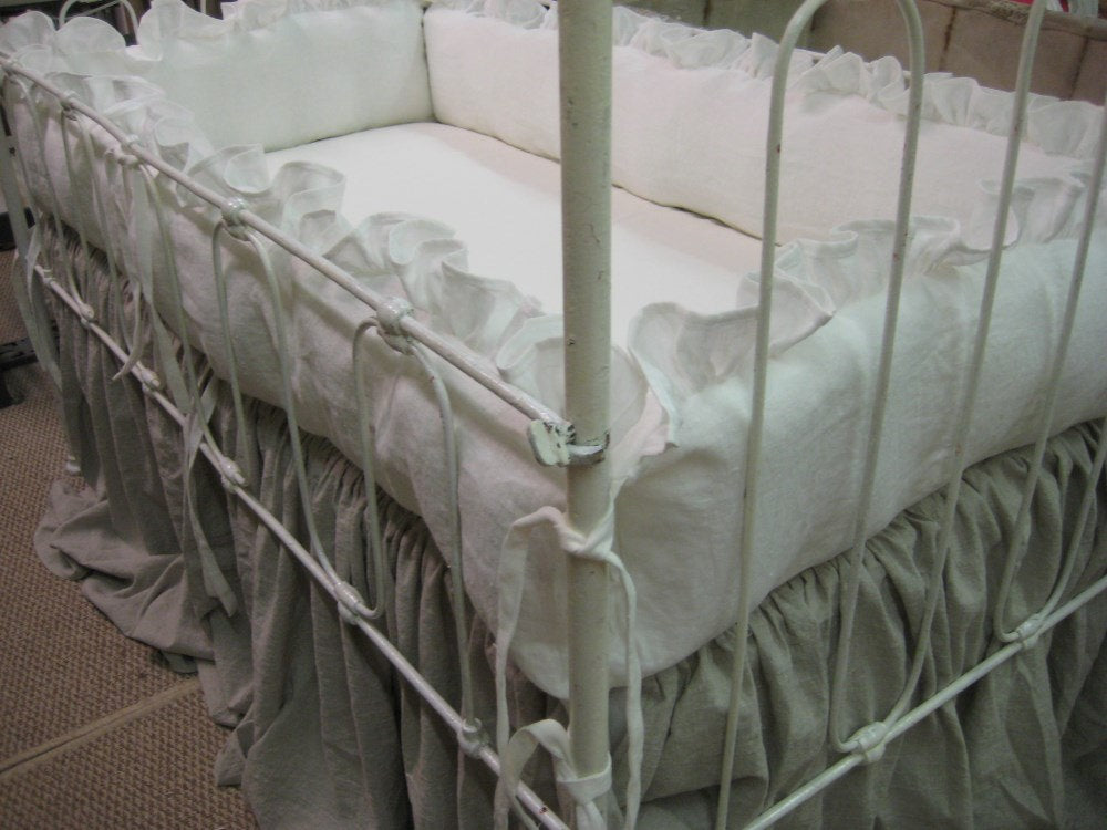 Washed Linen Ruffled Crib Bedding -Ruffled Bumpers, Crib Skirt, Tiny Ties, Over Sized Sash Separates, Crib Pillow