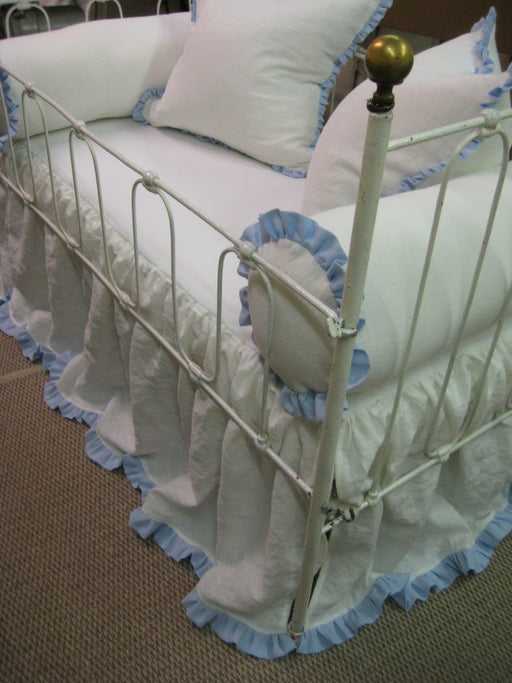 Bumperless Non Traditional Crib Bedding in Vintage White and Azure Blue Washed Linen-Crib Bolsters-22x22 Ruffled Shams-Storybook Crib Skirt