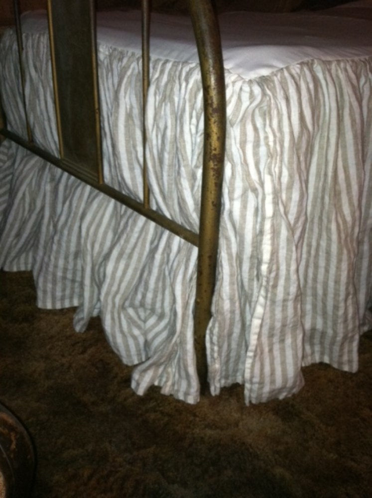 Natural Flax Stripe Gathered Bed Skirt