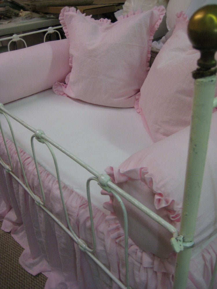 Bumperless Baby Girl Bedding-Washed Petal Pink Linen Non-Traditional Crib Bedding-Ruffled Bolsters, Pillow Shams, Blanket, and Crib Skirt