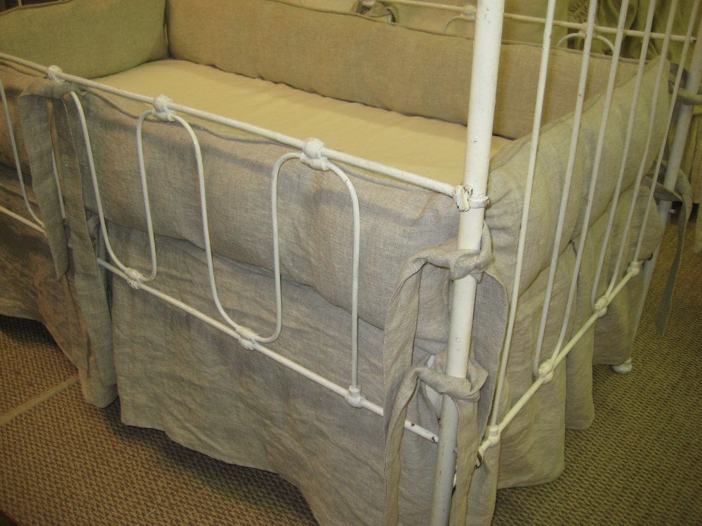 Tailored Crib Bedding -Bumpers and Crib Skirt-Washed Linen Crib Bedding Set-Pleated Crib Skirt-Tailored Bumpers