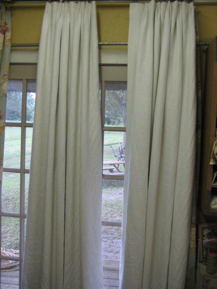 Vintage White Linen Drapery Panels-One Pair of Single Width Pleated Panels-Euro Pleat Detail-Blackout Interlining