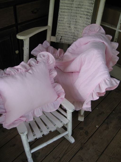 "2"" Ruffled Crib Blanket and Matching Crib Pillow Sham with Removable Insert-12x16"