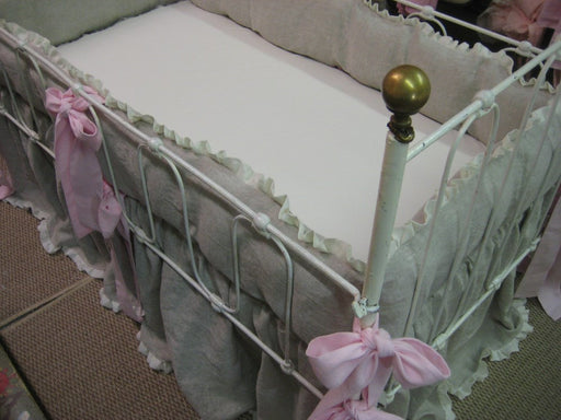 Oatmeal Washed Linen with Cream Ruffles and Petal Pink Details-Bumpers-Crib Skirt-Crib Pillow