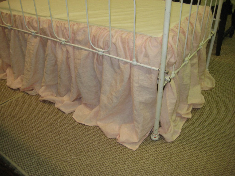 Ballet Pink and Bright White Washed Linen Crib Bedding-Tailored Bumpers with Sash Ties-Storybook Crib Skirt