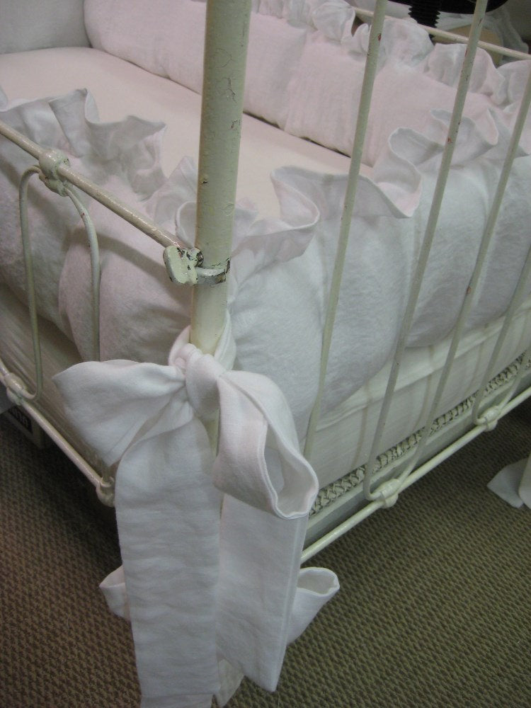 "Washed Linen Ruffled Crib Bumpers-1"" or 2"" Ruffled Bumper Separates with Sash Ties"
