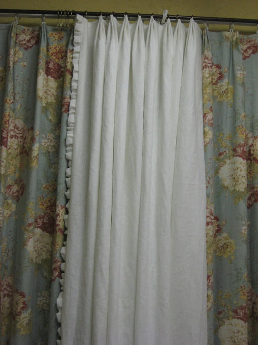 One Pair Vintage White Ruffled Drapery Panels for Large Window-Two Panels- 1.5 Fabric Widths Each Panel-Blackout Interlining-Drapery Lining