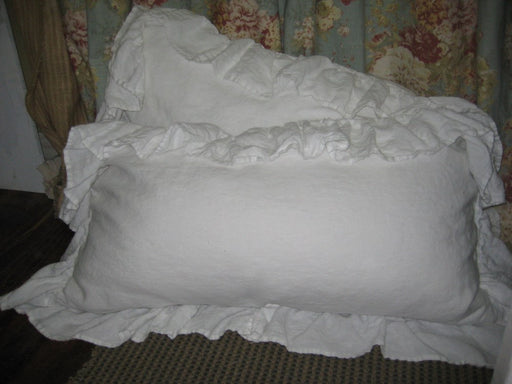 Pair of Long Ruffled King Pillow Shams---Vintage White Washed Linen Ruffled Pillow Shams--King Pillow Shams in Washed Linen