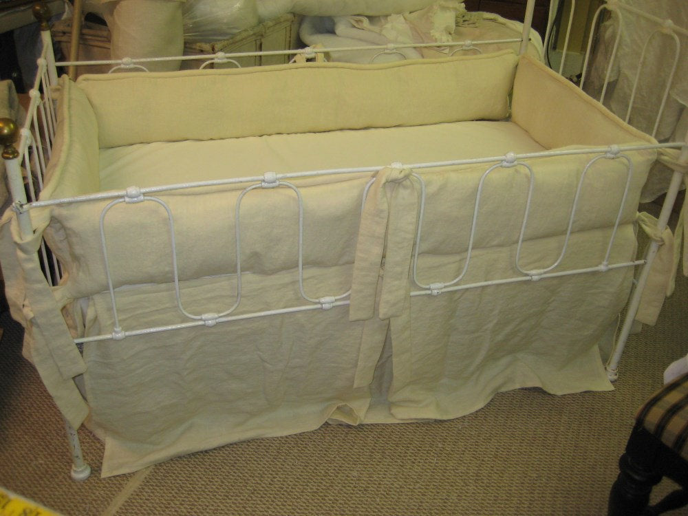 Tailored Crib Bedding in Washed Cream Linen-Tailored Bumpers with Piping Detail-Tailored Crib Skirt