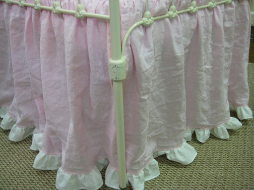 Petal Pink and Vintage White Washed Linen Crib Bedding-Crib Sheet-Ruffled Crib Blanket-Crib Bows-Custom Crib Linens