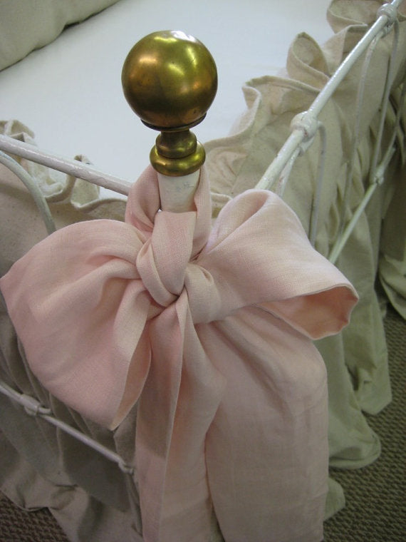 Nursery Separates- Storybook Crib Skirt-Ruffled Crib Pillow-Removable Insert-2 Over Sized Sashes-Color Options Available