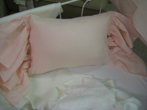 Crib Pillow with Long Ruffled Ends-Zip Closure-Perfect for Monogramming-Ballet Pink-Removable Pillow Insert