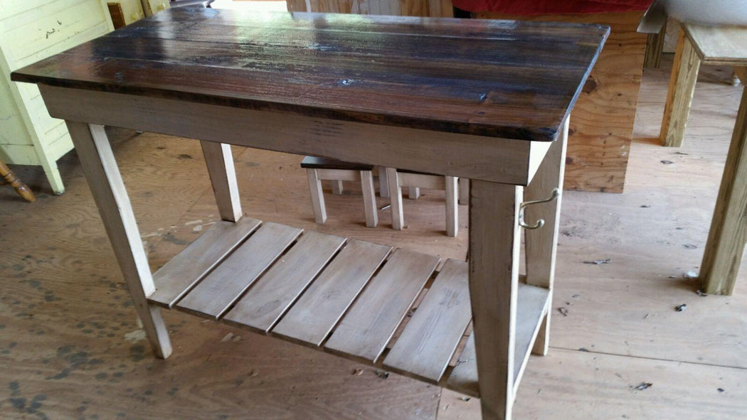 Farm Table Style Kitchen Island-Distressed Pine Kitchen Work Table-24 widex42 longx36 tall