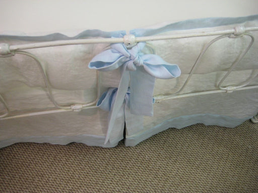 Tailored Crib Bedding-Vintage White and Light Blue Washed Linen Bumpers and Tailored Crib Skirt