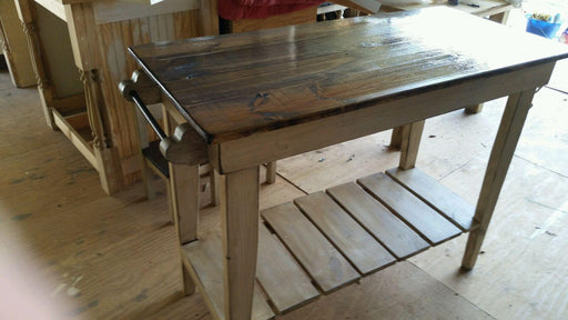 Farm Table Style Kitchen Island-Distressed Pine Kitchen Work Table- SHIPPING AVAILABLE-Free Local Pick-up -24 widex42 longx36 tall