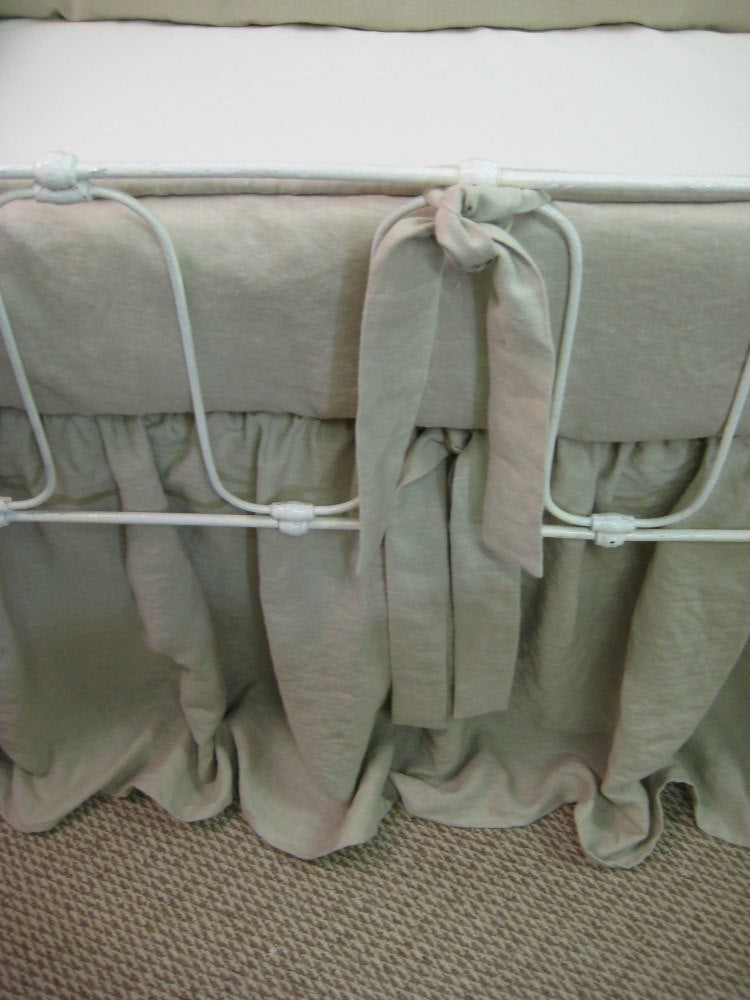 Washed Linen Tailored Crib Bedding-Bumpers and Gathered Crib Skirt-Antique White Crib Bedding in a Tailored Style