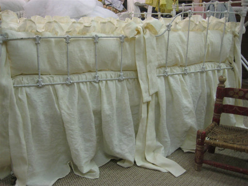 Cream Washed Linen Crib Bedding--Ruffled Bumpers-Storybook Crib Skirt-Pillow with Light Blue Ruffle