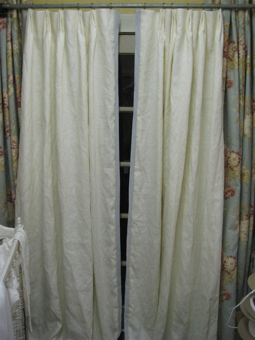 Lined Linen Drapery-Tailored Linen Drapes-One Pair Linen Curtains with Tailored Detail-Pleated Linen Drapes-Lined Window Treatments