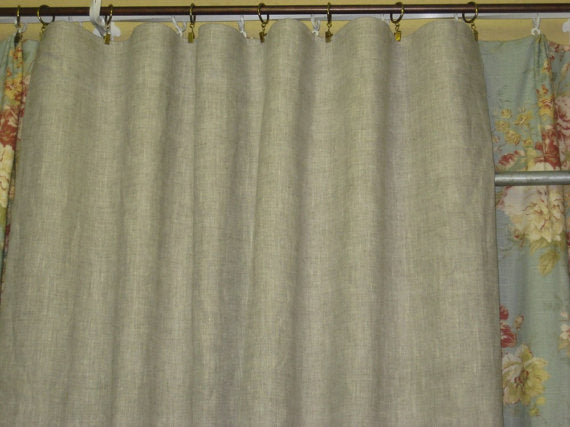 Washed Linen Rod Pocket Curtain Panel-Unlined Single Width Curtain Panel-Classic Washed Linen Curtain Panels