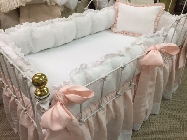 Ruffled Crib Bedding in Bright White and Blossom Pink Washed Linen-Ruffled Bumpers-Crib Skirt with Contrast Hem Detail-Pillow-Sashes
