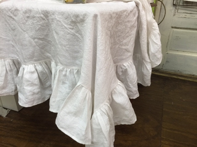 Washed Linen Ruffled Tablecloth-Custom Square Ruffled Washed Linen Tablecloth-Bright White-Vintage White-Oatmeal