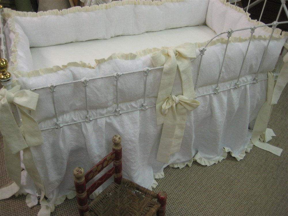 Ruffled Crib Bedding in Bright White and Cream Washed Linen-Ruffled Bumpers-Ruffled Crib Skirt-Ruffled Pillow in Heirloom