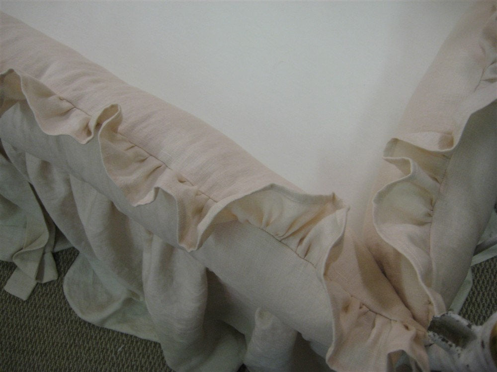 Heirloom Blush Pink Crib Bedding-Ruffled Bumpers with Sash Ties-Removable Bumper Pad Inserts---Storybook Crib Skirt