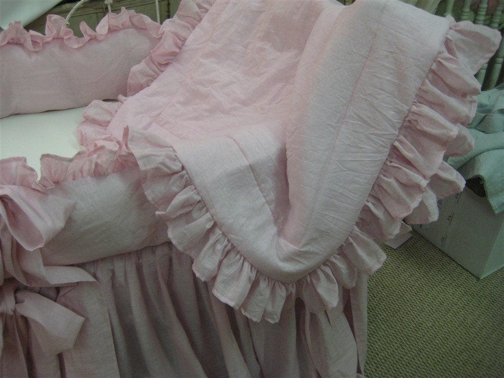 Sheer Pink Washed Linen Ruffled Crib Bedding-OverSized Sash Ties-Storybook Crib Skirt-Ruffled Crib Blanket
