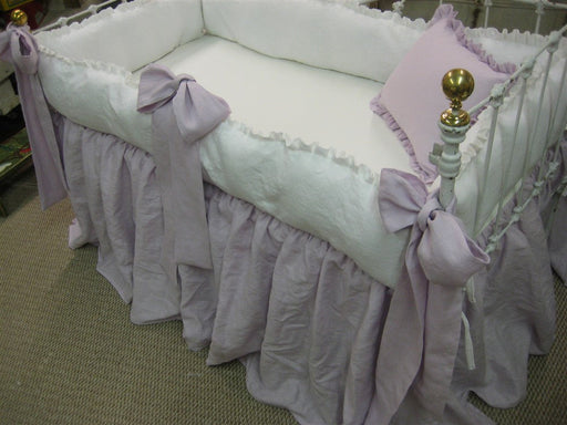 Lavender and Bright White Washed Linen Crib Bedding