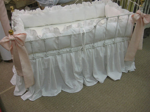 Bright White Washed Linen Crib Bedding-Ruffled Bumpers-Storybook Crib Skirt-Powder Blush Pink Sashes-Crib Pillows-Made to Order Crib Bedding