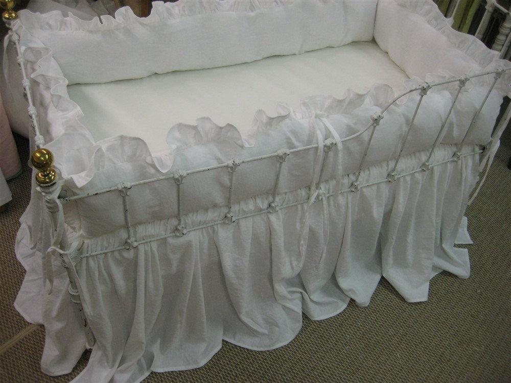 Bright White Washed Linen Crib Bedding-Ruffled Bumpers-Storybook Crib Skirt-Optional Ballet Sashes and Crib Pillows
