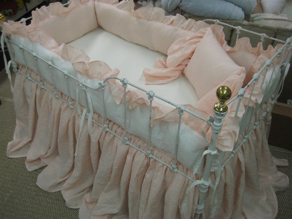 Storybook Style Nursery-Crib Bedding-Balloon Shade and Accessories-Ballet Pink and Vintage White Washed Linen-Custom Ruffled Crib Bedding